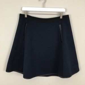 Madewell Quilted Skater Skirt Faux Leather Trim